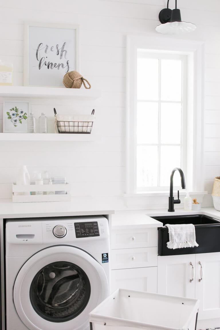 Pristine and White Fresh Linens Farmhouse Laundry