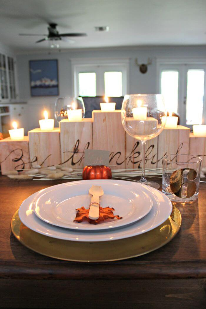 Wooden Lettered Stair Candle Holder