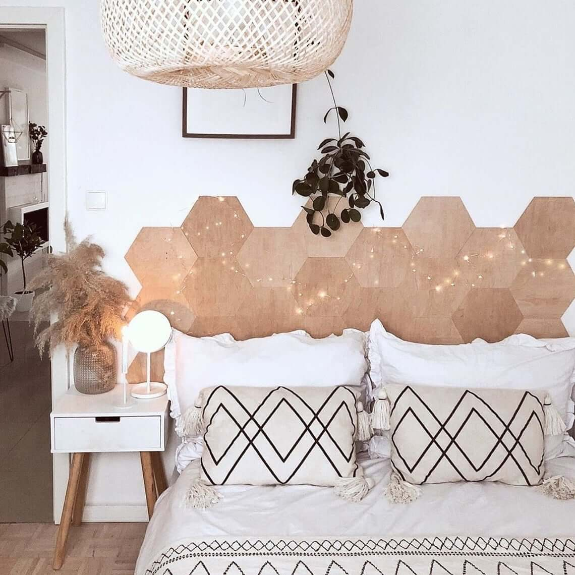 Honeycomb Headboard with Mid-Century Modern Elements