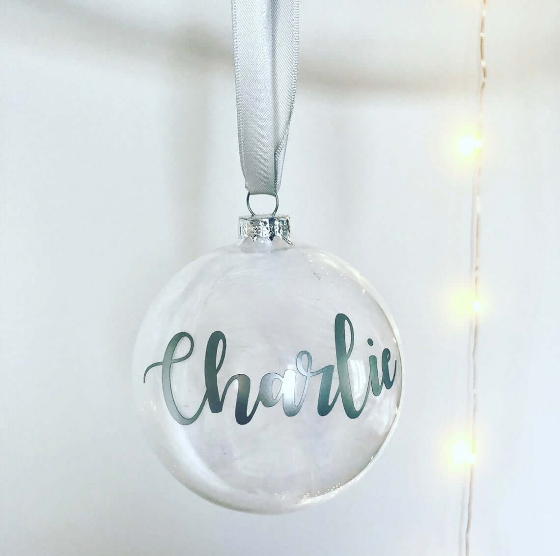 Clear Simple Hanging Personalised Bauble