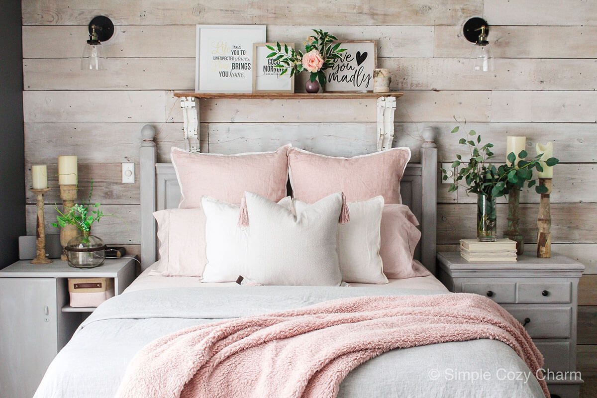 Blush Pink and Grey Great Master Bedroom
