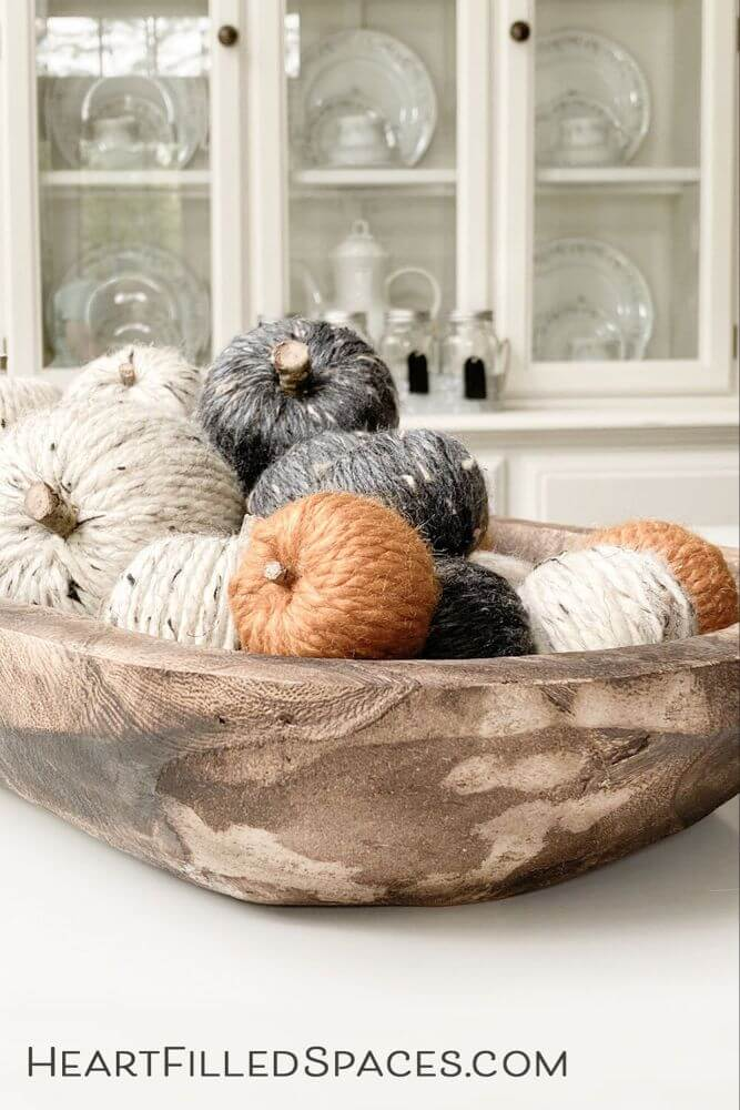 Yarn Pumpkin Filled Wooden Bowl