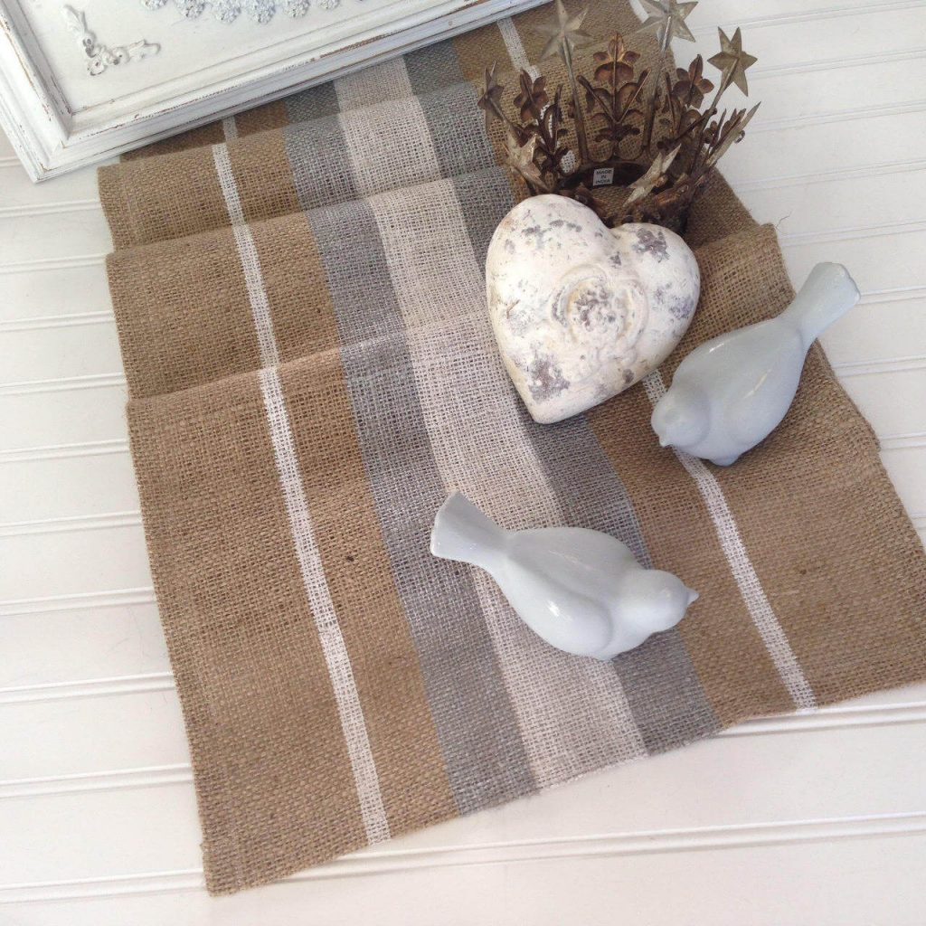 Coastal Farmhouse Burlap Table Runner