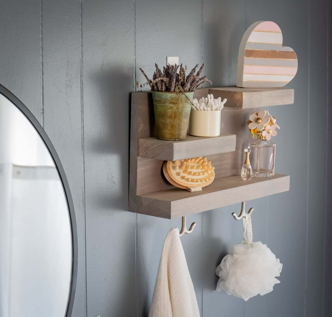 Muted Color Step Shelves with Bottom Hooks