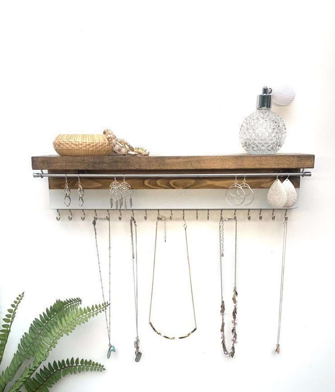 Metal and Wood Jewelry Organizer Shelf