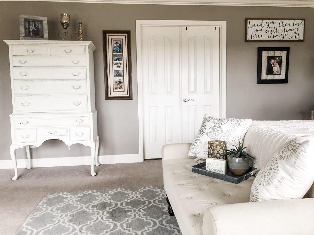 Love You Always Grey & White Bedroom