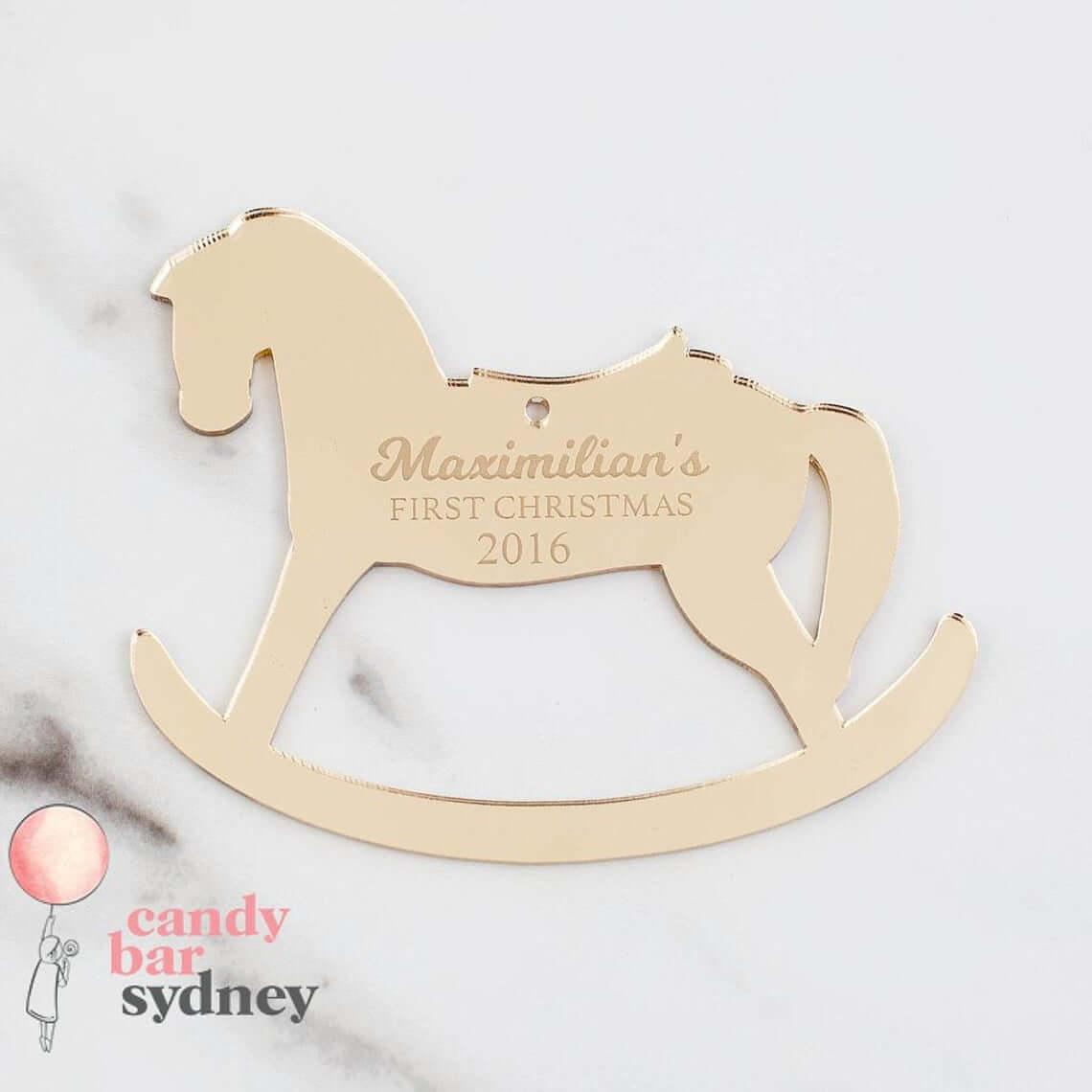 Metal Customizable Rocking Horse Bauble