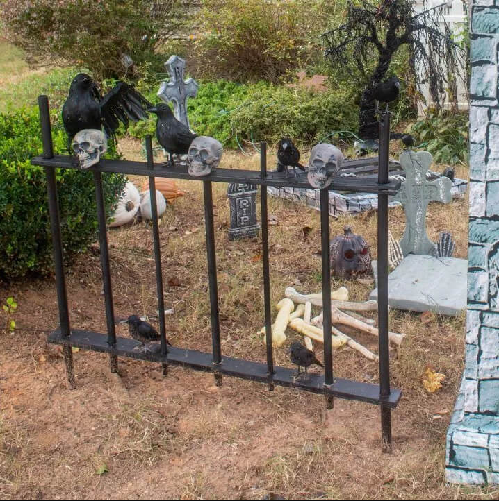 Bone-Littered Graveyard with Crows and Skulls