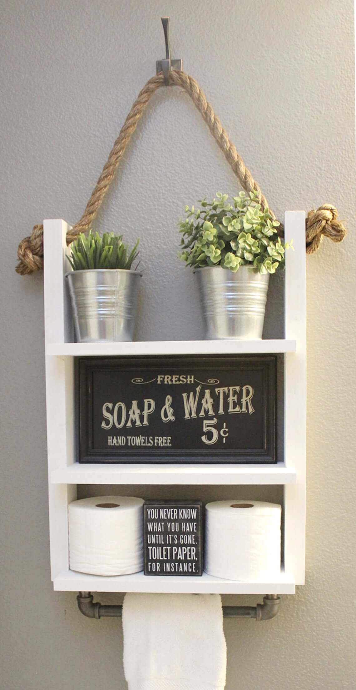 Modern Farmhouse Industrial Bathroom Shelf