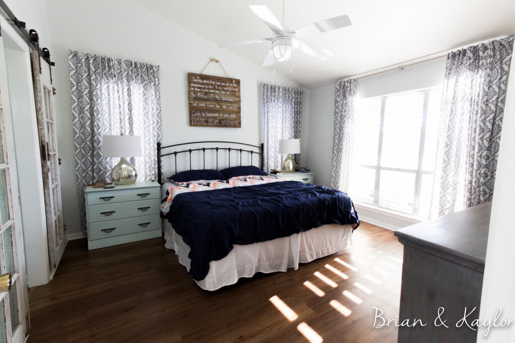 Navy, White, & Blush Master Bedroom Idea
