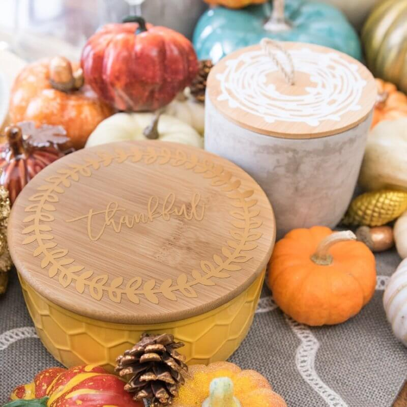 Pottery with Wooden Lid Fall Table Accents
