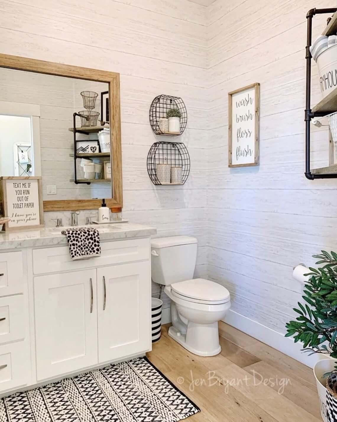 50 Best Farmhouse Bathroom Design And, Modern Farmhouse Bathroom Wall Decor Ideas