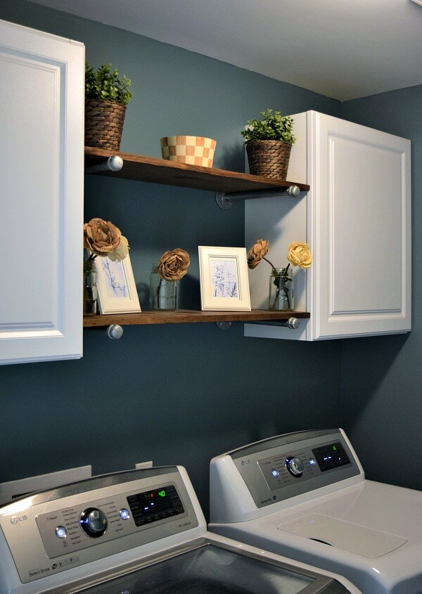 White and Wood Laundry Shelf and Storage