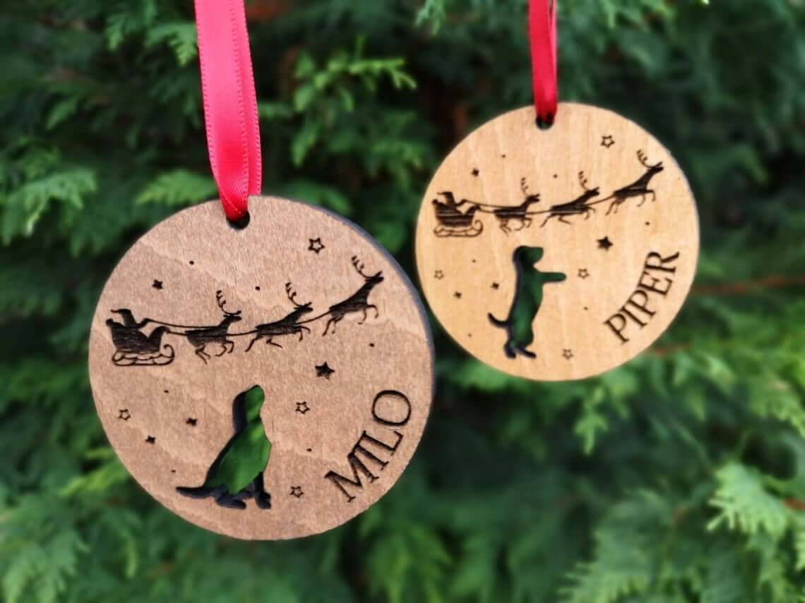 Wooden Pet Name Cut Out Bauble