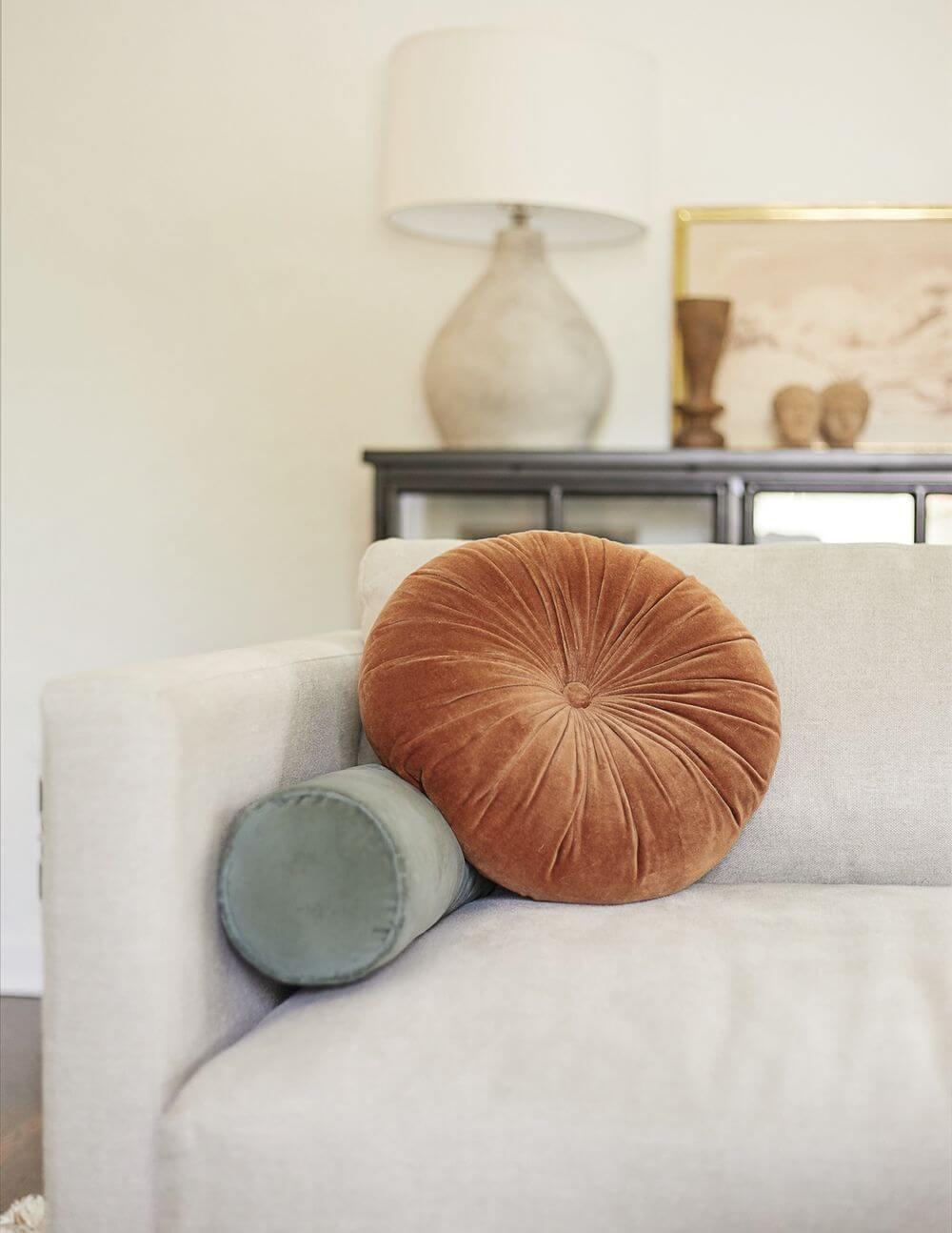 Rounded Pleated Velvet Throw Pillow