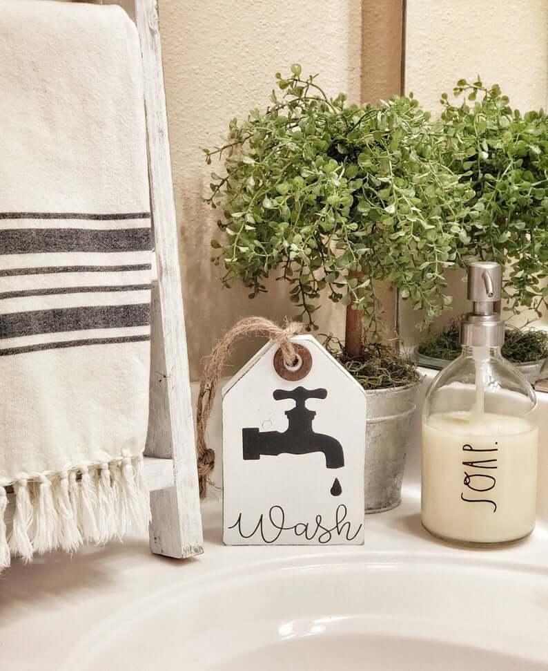 Custom Wooden Bathroom Wash Tag