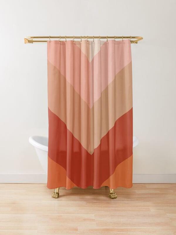 Tribal Terracotta Multi-Colored Shower Curtain