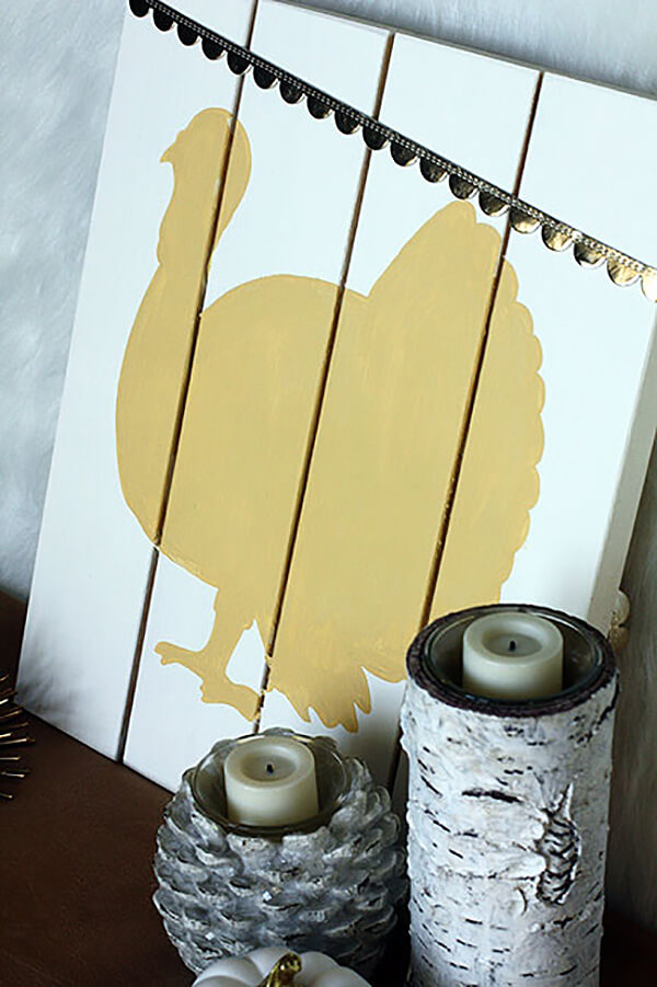 Turkey Silhouette Hand Painted Sign