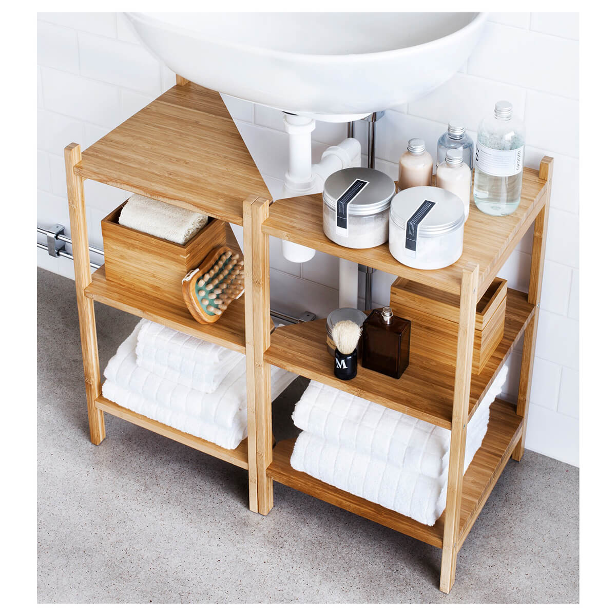 Under Sink Shelves with Pipe Cut