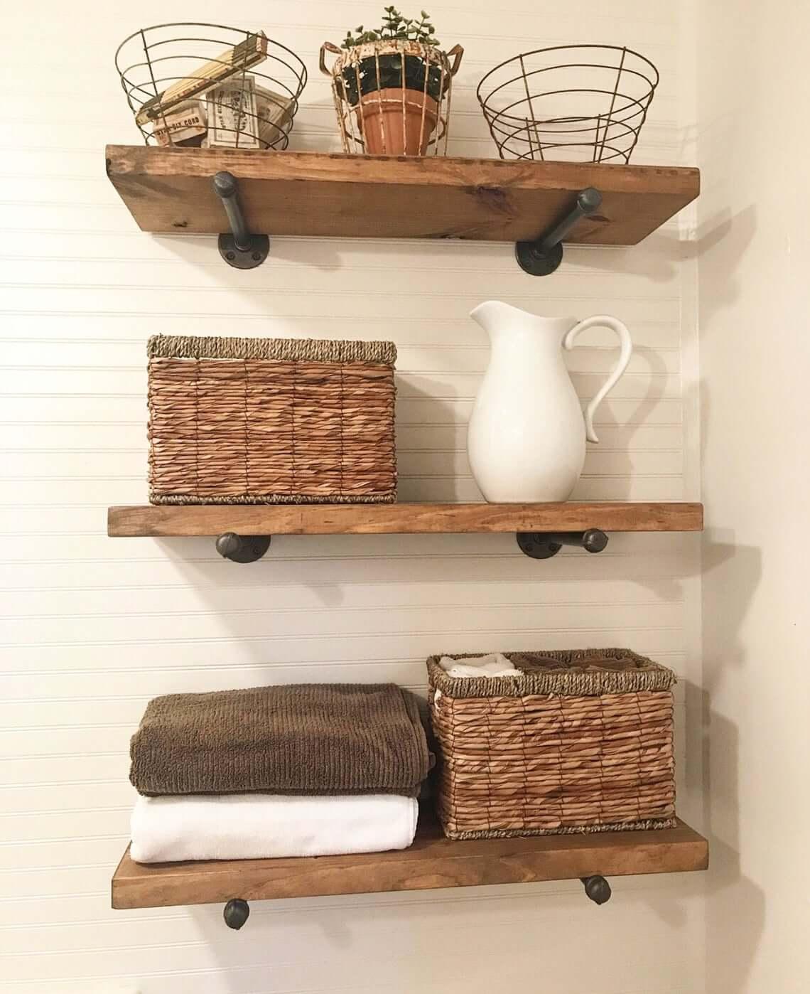 Wooden Floating Bathroom Storage Shelf