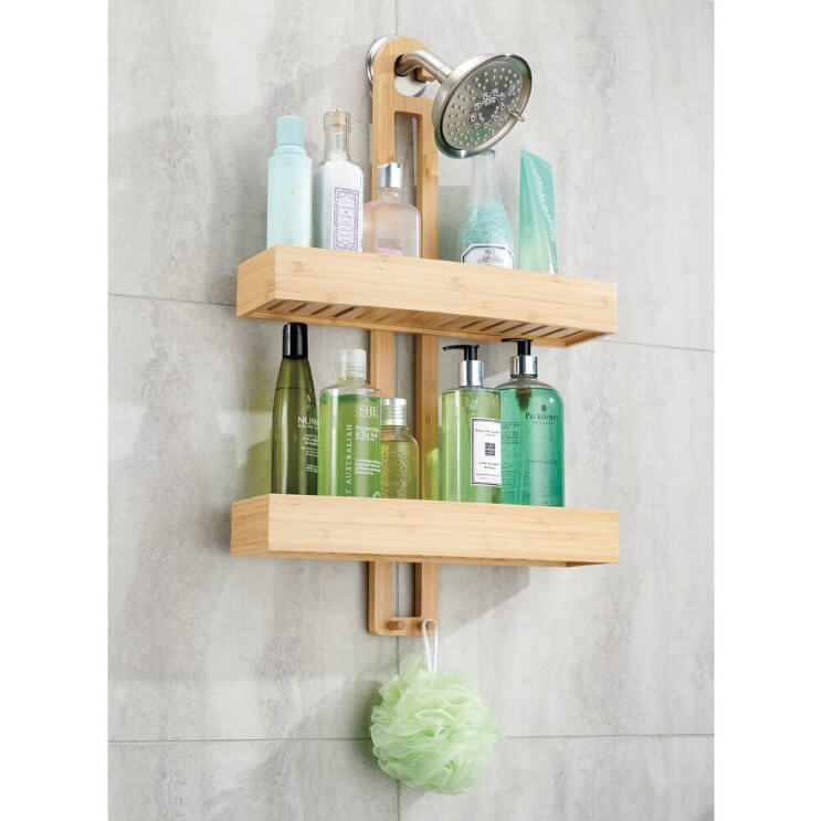 Modern and Slim Wooden Shower Caddy