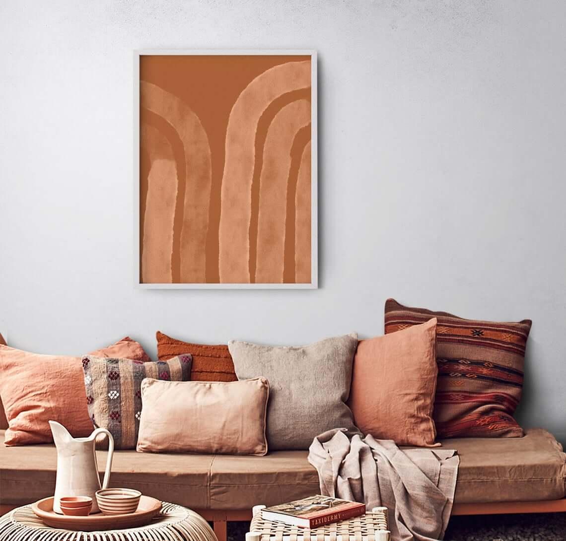 Terracotta Abstract Line Art Rainbow