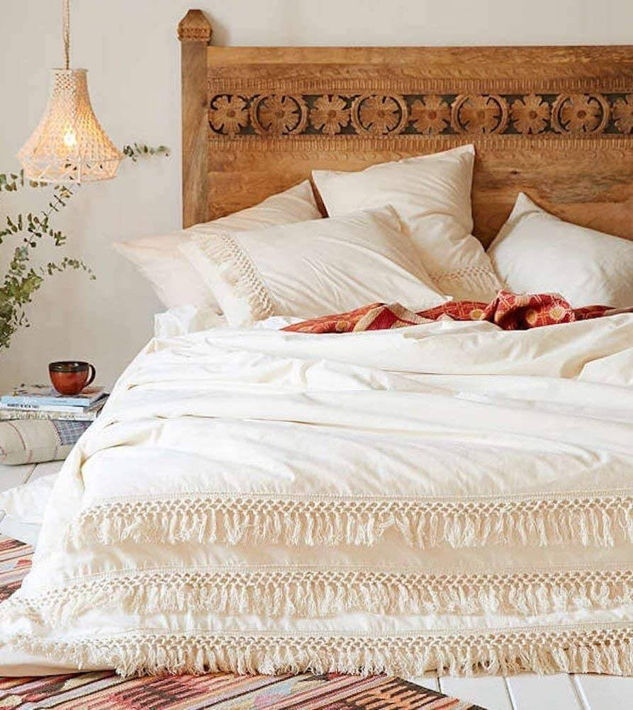 Hand Carved Natural Beauty Wooden Headboard