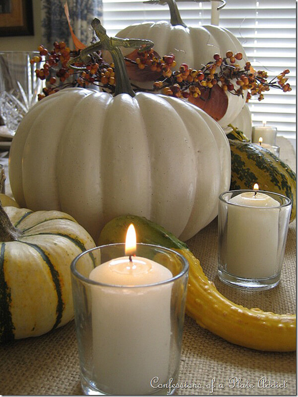 Faux Pumpkin Centerpiece Thanksgiving Tablescape