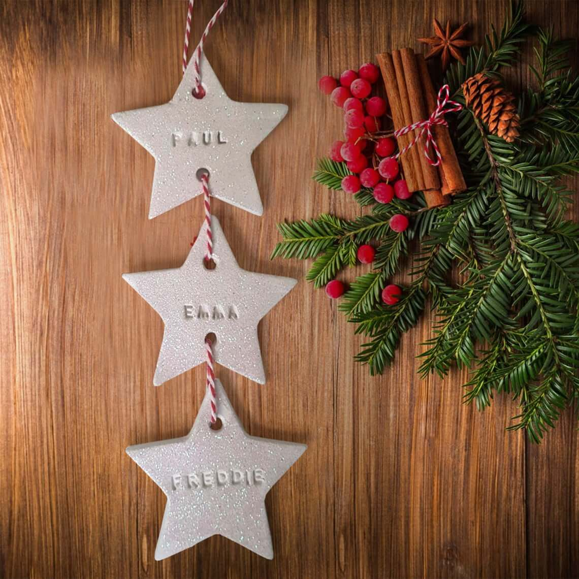 White Clay Stamped Strung Star Baubles