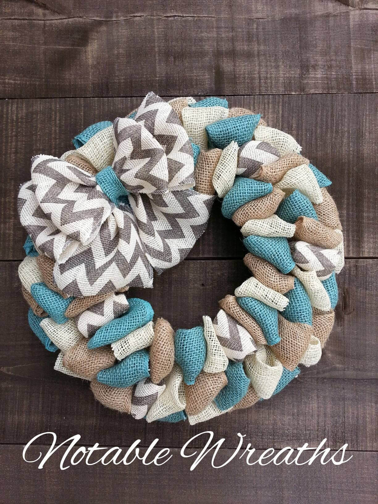 Coastal Farmhouse Burlap Fabric Wreath