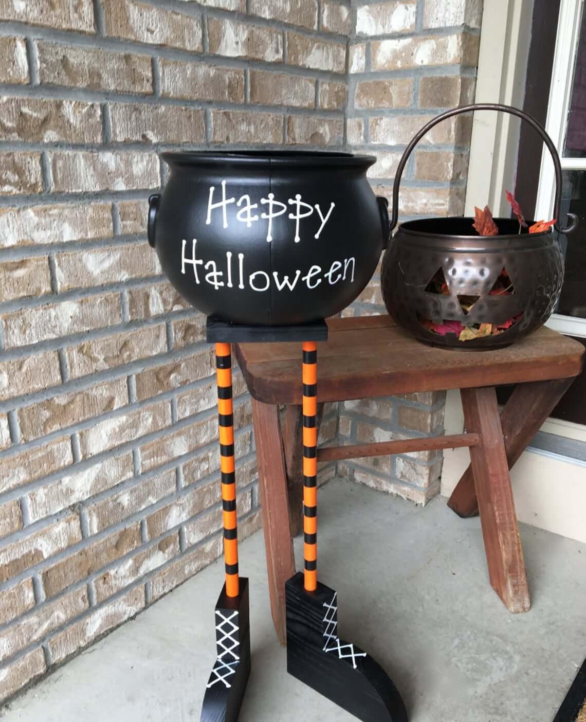 Witches Feet Happy Halloween Decorative Cauldron