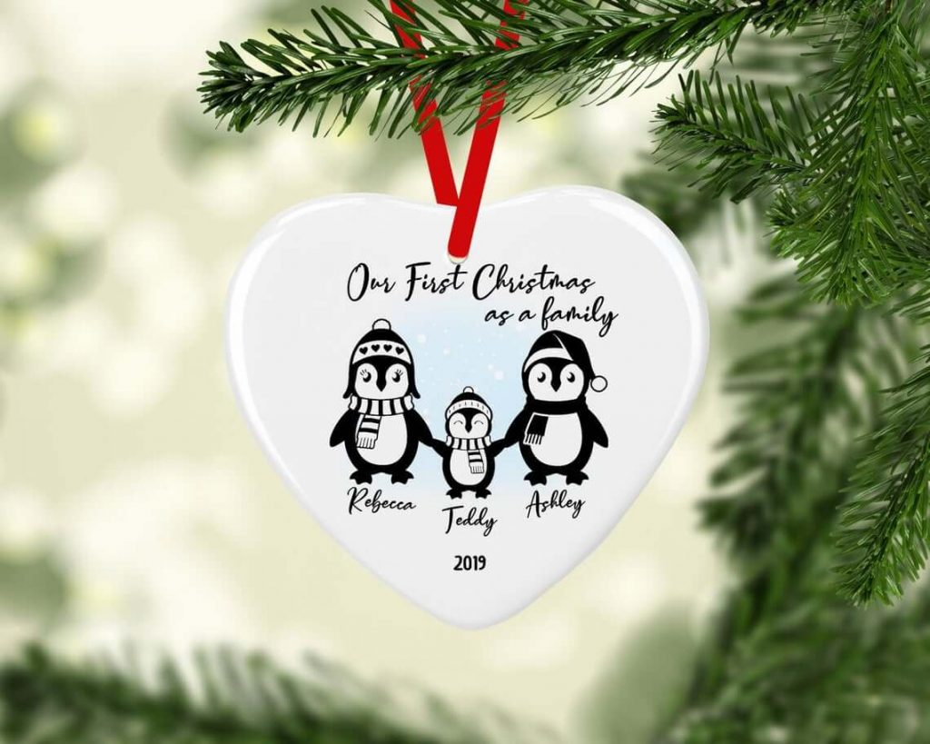 Ceramic First Family Christmas Penguin Bauble