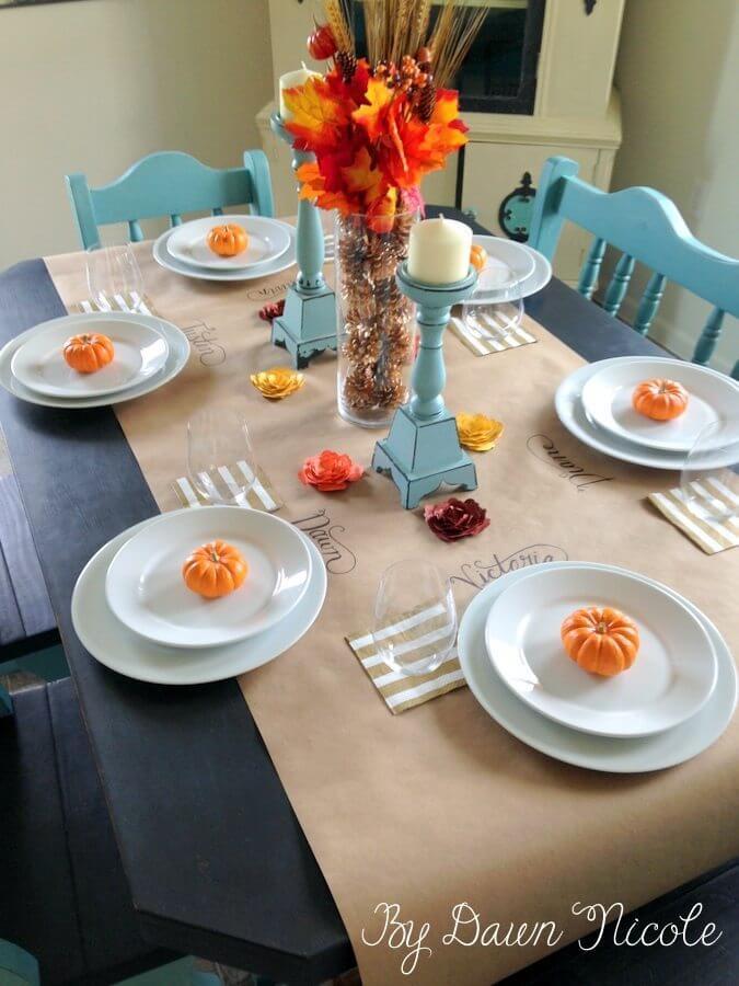 Butcher Block Paper Tablecloth Fall Table Design