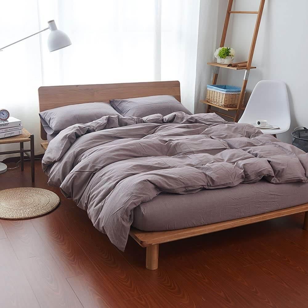 Teak Wood Platform Bed with Puffy Grey