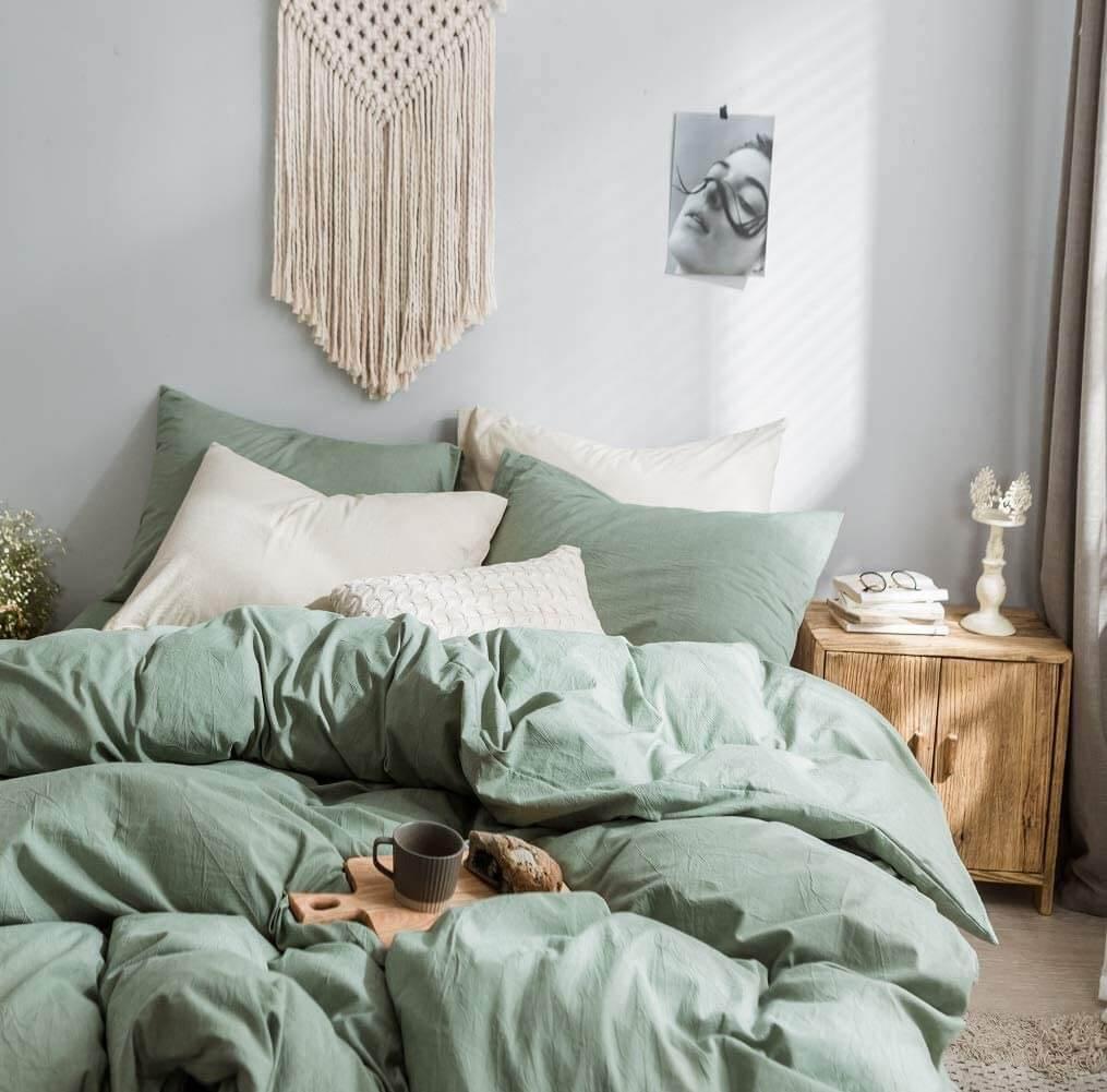 Muted Eucalyptus Puffy Down Comforter Bedroom