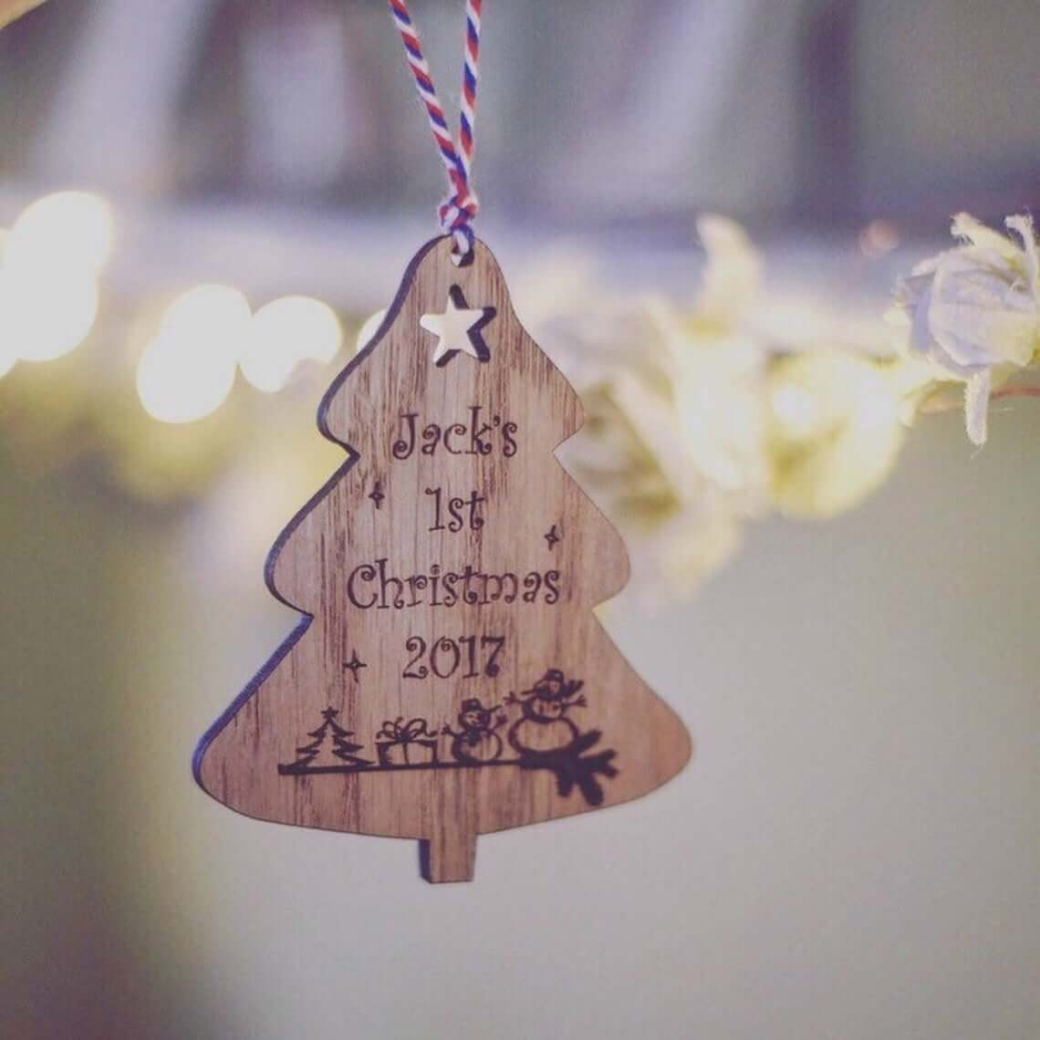 Wooden Christmas Tree First Christmas Bauble