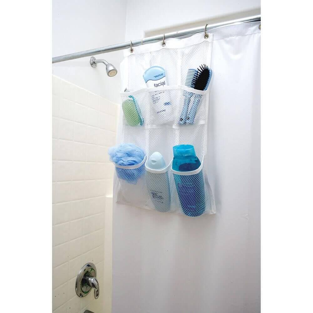 Mesh Shower Rod Pocket Organizer