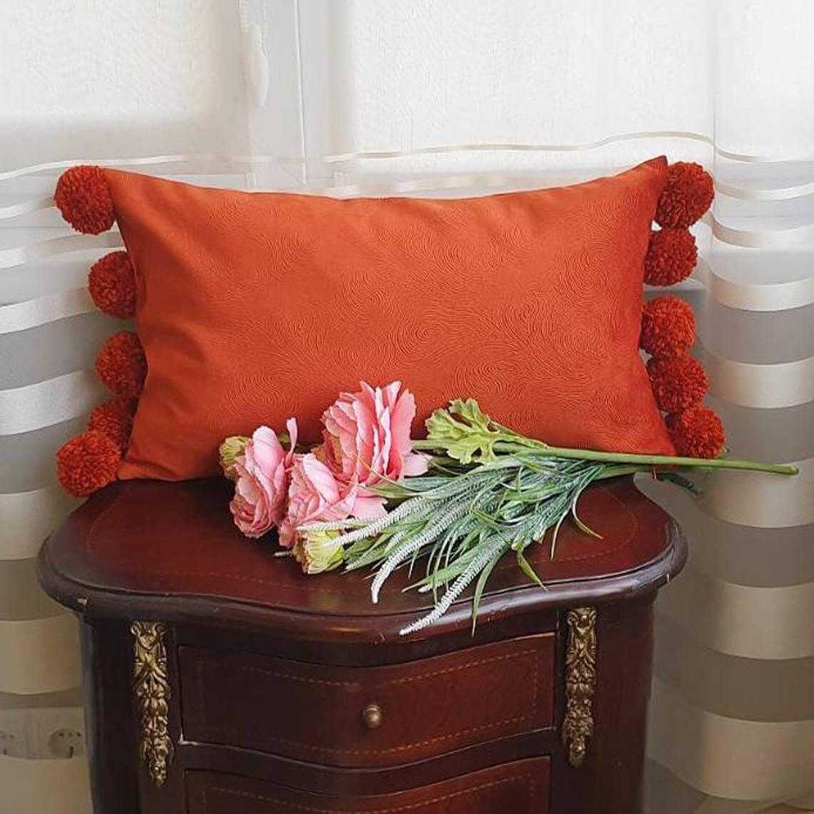 Burnt Orange Lumbar Velvet Pillow Cover