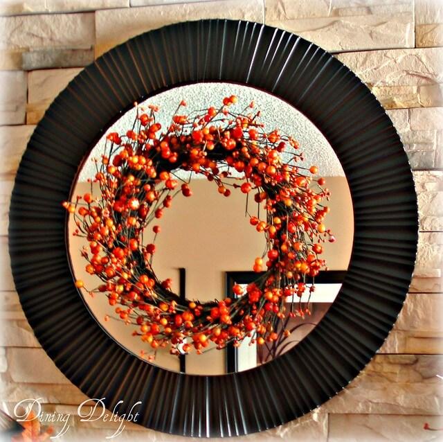 Red Orange Berry Wreath on a Mirror