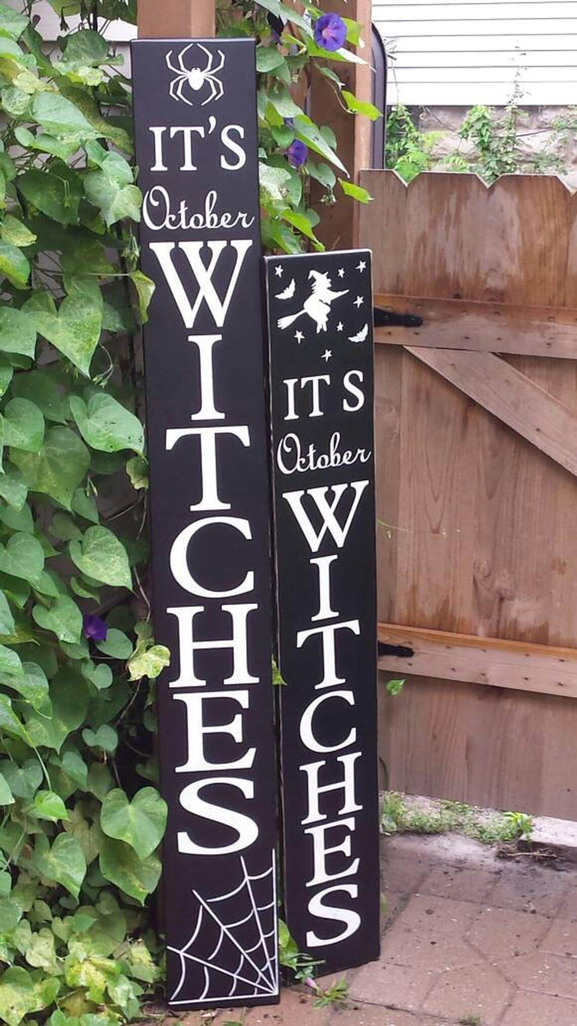 """Witches"" Standup Spider Sign Set"
