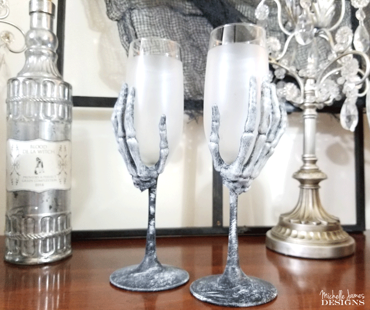 Skeleton Hands Smoky Wine Glasses