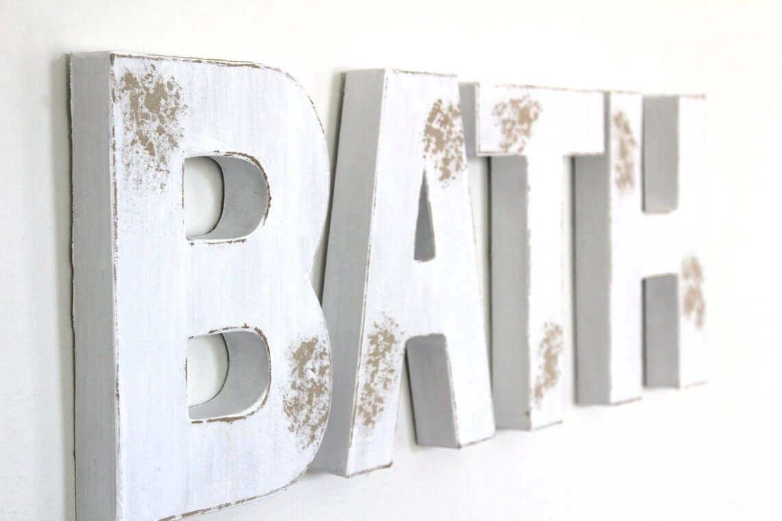 "Letter ""Bath"" Distressed Hanging Sign"
