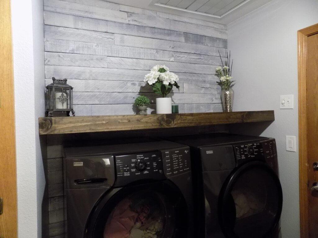 Farmhouse Grey Wood Wall for Laundry