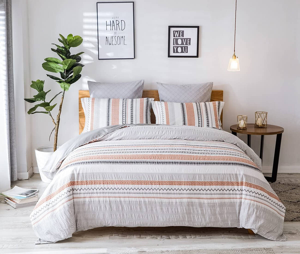 Work Hard Be Awesome Tribal Print Bedroom