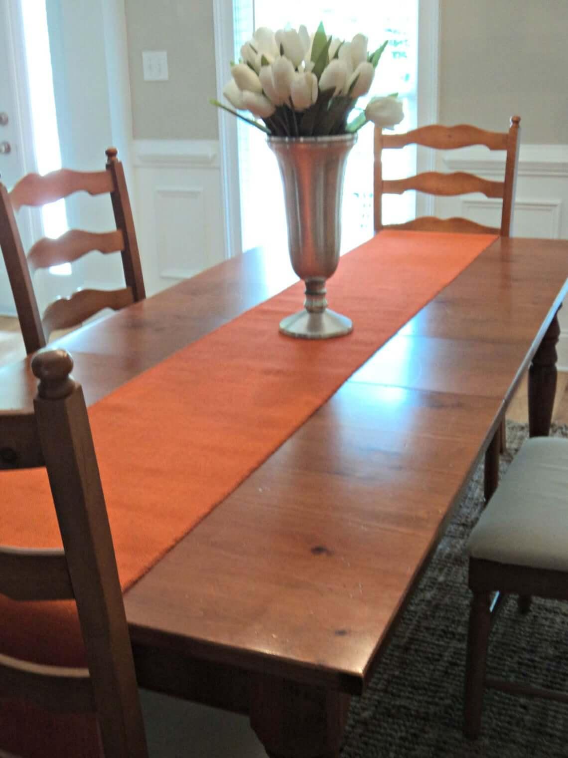 Orange Burlap Autumn Table Runner