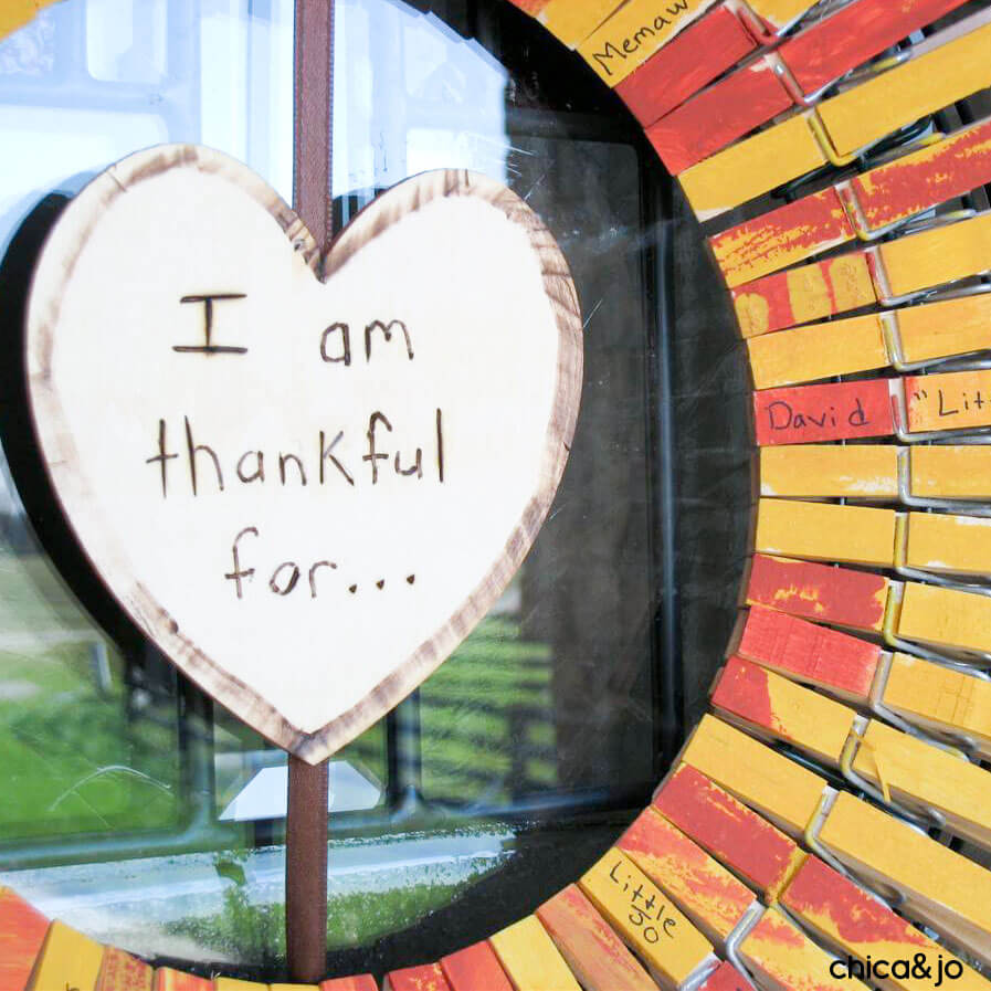 I Am Thankful For Clothespin Wreath