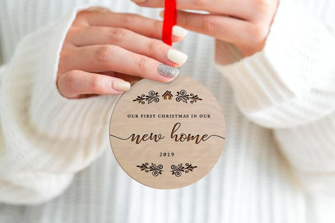 Wooden Round New Home Engraved Bauble