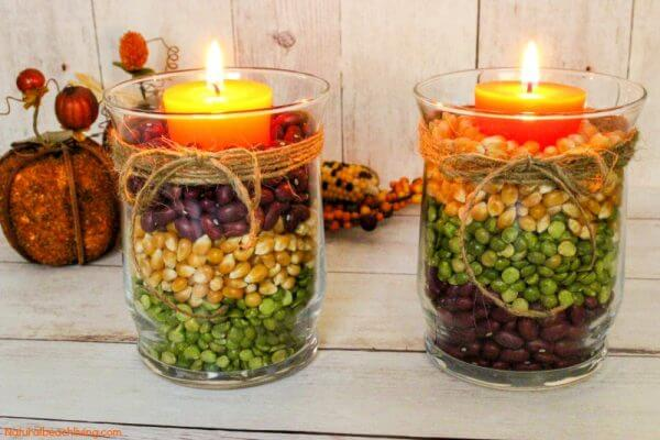 Elegant Colorful Harvest Theme Candle Holders