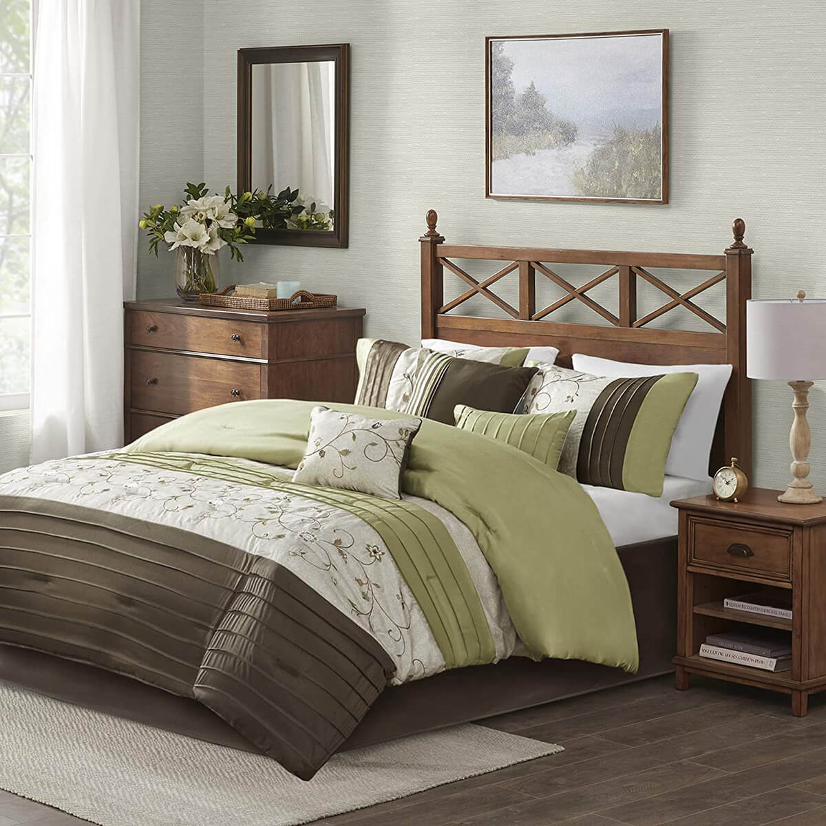 Brown and Green Fresh Air Bedroom Decor