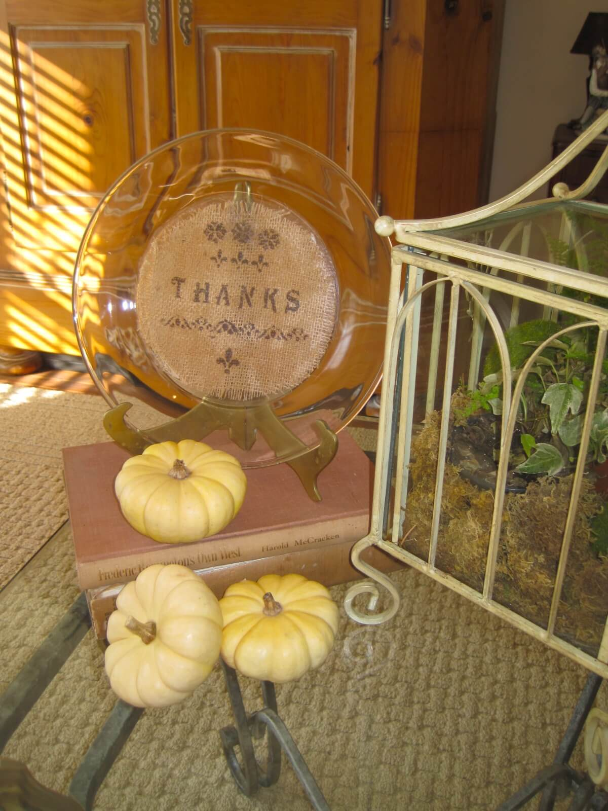 Stenciled Burlap Clear Plate of Thanks